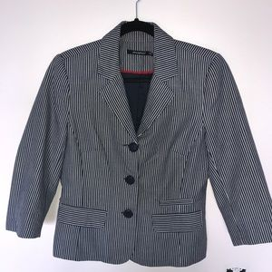 Atmosphere Navy Blue & White Striped Fitted Blazer